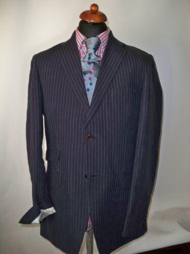 a Uk Co Tailored 40 Clothing Crew Fit righe Misura lino Blazer blu in scuro puro 1qtan4x