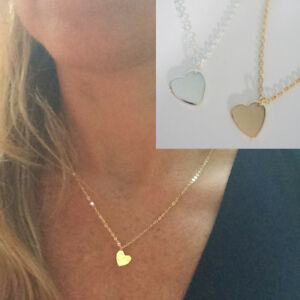 Dainty Heart Choker Charm Necklace Pendant Simple Gold Silver