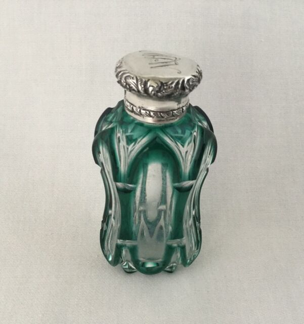 S. Mordan & Co. Bohemian Glass & Sterling Silver Perfume Scent Bottle.    *1360