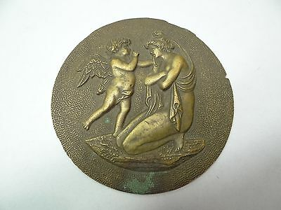 Antique Brass Cupid Aphrodite Goddess Badge Dial Clock Part Lamp Finial Piece