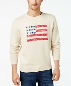 df6a6227 Image is loading Weatherproof-Vintage-Natural-Beige-Mens-Graphic-Flag-Crew-