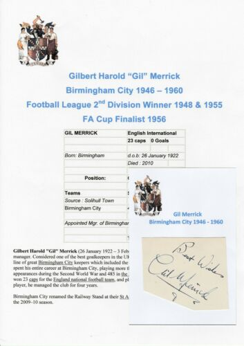 GIL MERRICK BIRMINGHAM CITY 19461960 RARE ORIGINAL HAND SIGNED CUTTING