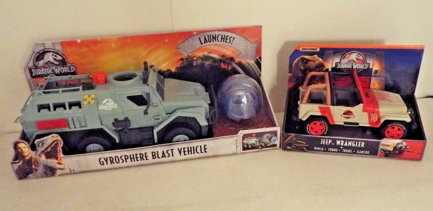 Jurassic World Fallen Kingdom Large New Gyrosphere Blast Vehicle & Jeep Wrangler