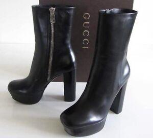 97ded6e40775 Women s GUCCI Black Claudie side zip platform boot 39 size 9  995