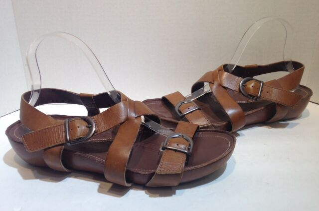 Sanita Brown Leather Sandals Size 42