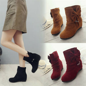 Fall-Winter-Women-Round-Toe-Bowknot-Ankle-Boots-Hidden-Heel-Shoes-Casual-Booties