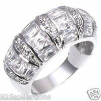 4x2 mm Clear CZ Baguette April Birthstone Lady Rhodium Jewelry Ring Size 5-9