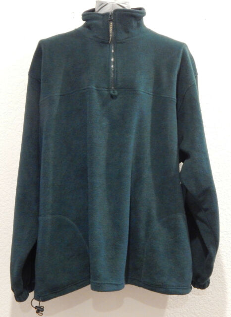 Green Fleece Jacket Plus Size 2X XXL Pullover Half Zip Coat Roundy Ridge