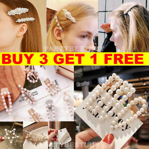 9419c3156922a Women s Girls Pearl Hair Clip Gold Hairpin Slide Grips Barrette Hair ...