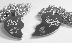 Solid stainless steel dad daughter split heart necklaces love free image is loading solid stainless steel dad daughter split heart necklaces mozeypictures Choice Image