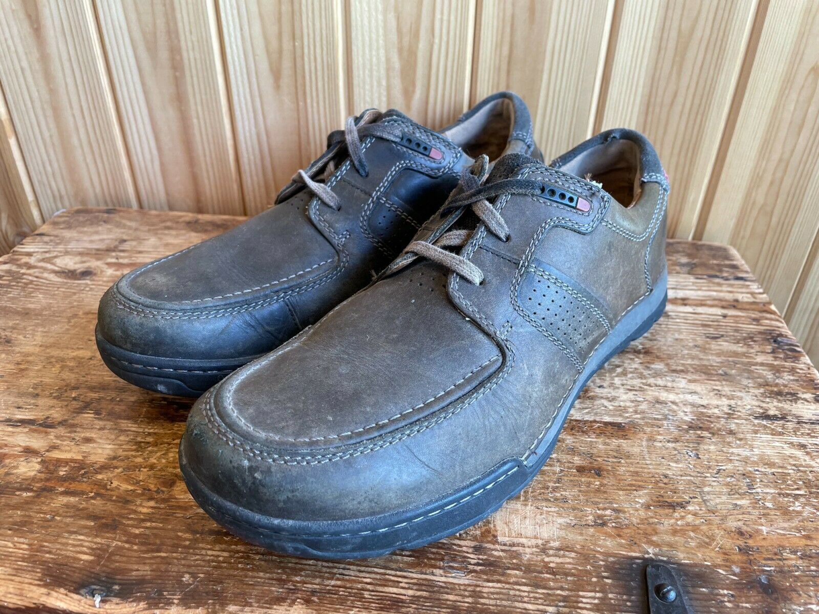CLARKS Active Air Vent Casual Derby Shoes Mens Size UK 7 H Wide Fit Lace Up