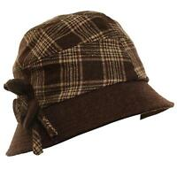 Winter Scottish Plaid Ribbon Bow Crushable Bucket Cloche Flower Hat Cap Brown M
