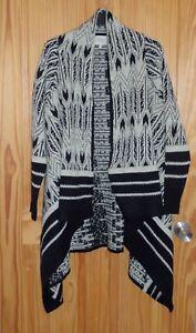 Matalans Size beige Cardigan da con nero e 12 scialle UK 14 azteco Medium donna 4wCfw8q