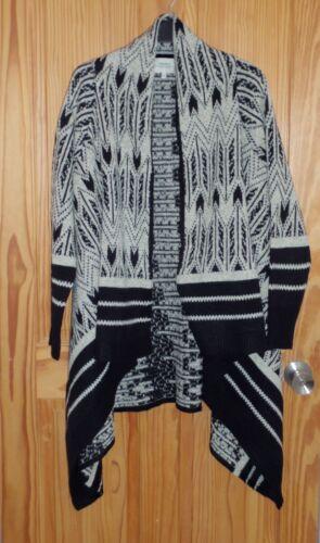 con Medium 14 beige UK Cardigan scialle Matalans da donna nero e azteco 12 Size H1zdxAq