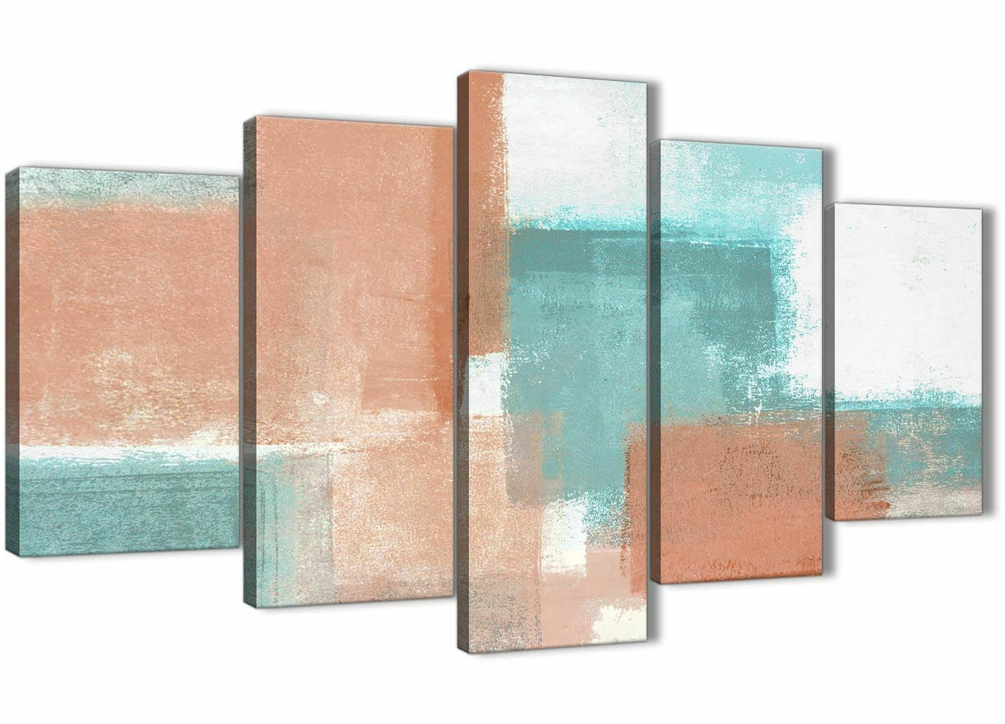5 Piece Coral Turquoise Abstract Office Canvas Decorations - 5366 - 160cm