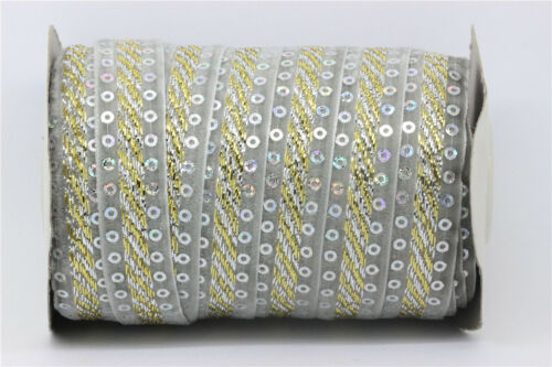 5//20Yards 10mm Sparkle Glitter Velvet Ribbon Headband Clips Bow Decoration S