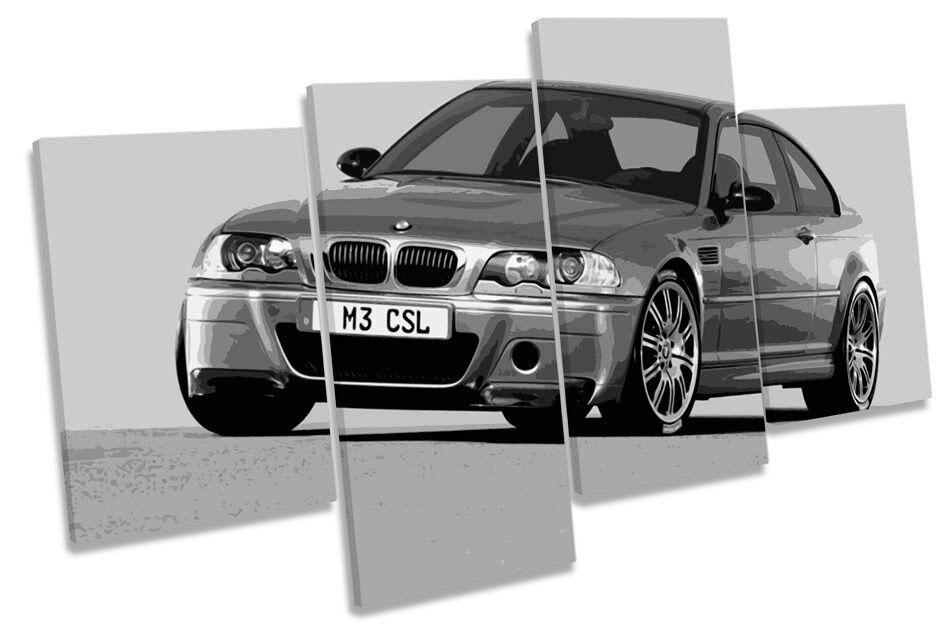 BMW M3 CSL Car B&W MULTI CANVAS Wand Kunst Boxed Framed