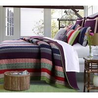 Beautiful Reversible Modern Chic Purple Green Red Blue Bohemian Global Quilt Set
