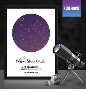 Birthday Star Map.Personalised First Met Star Map Perfect Gift For Birthday Wedding