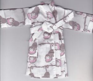 Homemade-Cute Cupcakes Print Flannel Robe Fits Ken//Barbie and Elf Doll R4