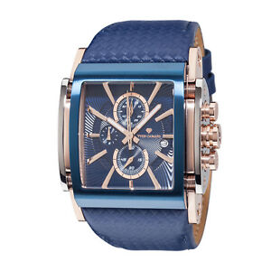 YVES-CAMANI-ESCAUT-Mens-Wrist-Watch-Blue-Rosegold-Chronograph-Leather-Strap-New