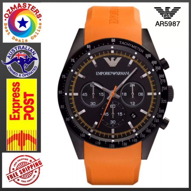 high quality best shoes wholesale sales Emporio Armani AR5987 Men's Sports Orange Silicone Strap Chronograph Wrist  Watch