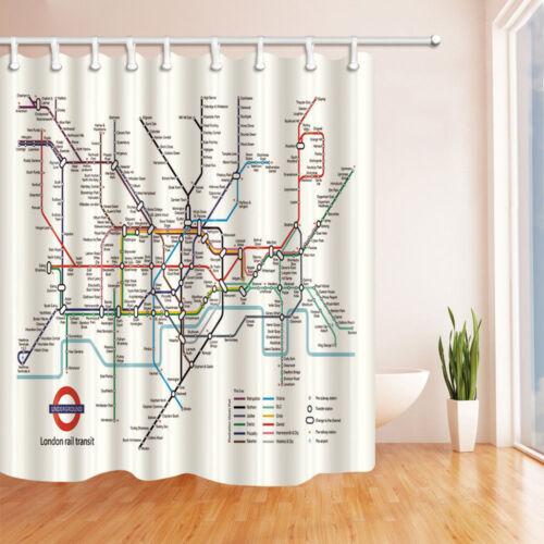 City Subway of London Rail Transit 71x71 Inch Waterproof Fabric Shower Curtain