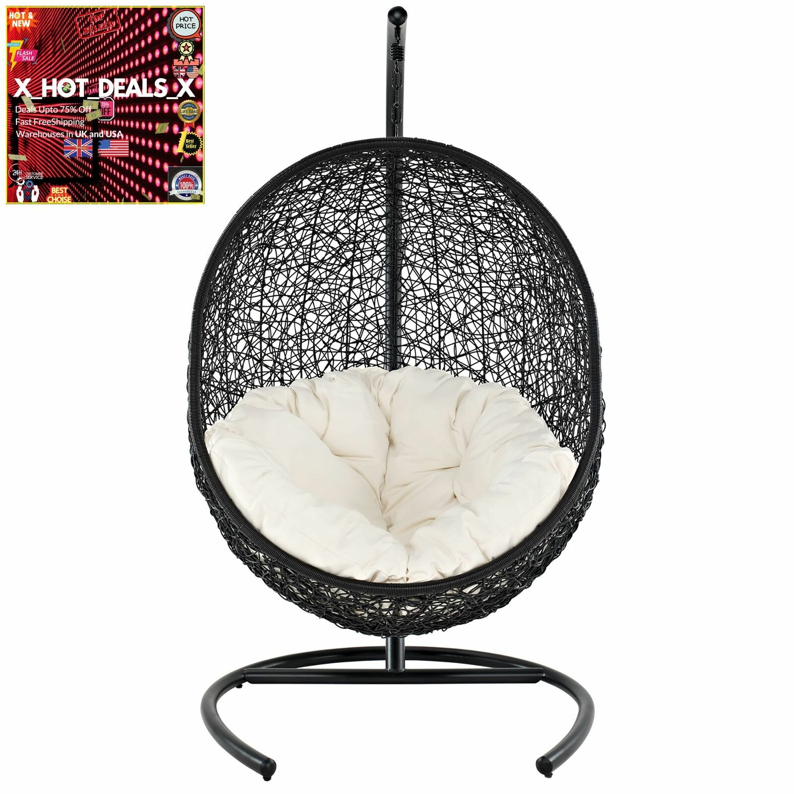New Outdoor Patio Wicker Rattan Hanging Swing Lounge Chair With Stand Us For Sale Online