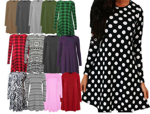 M14 Womens Long Sleeve Swing Skater Womens A-Line Dress Plus Size 8-26