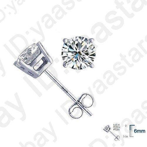 CZ Crystal Stud Earrings Jewelry Silver 4 Claws Cubic Zircon for Women Girl Gift