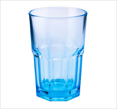 Set of 6 12oz Drinking Water Juice Cold Glass Coloured Tumbler Brand New