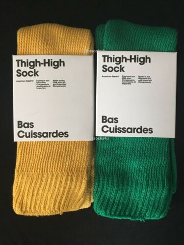 American Apparel Thigh High Socks Lot Blue Yellow Over The Knee Long Boot Summer