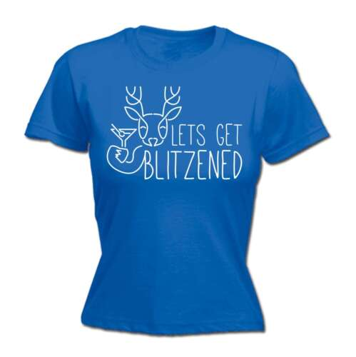 Christmas Womens t shirt Lets Get Blitzened X-mas Funny Drinking FITTED T-SHIRT