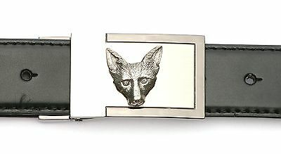 Fox Head KR  Design Belt Buckle and Leather Belt in Gift Tin Ideal Hunting Gift