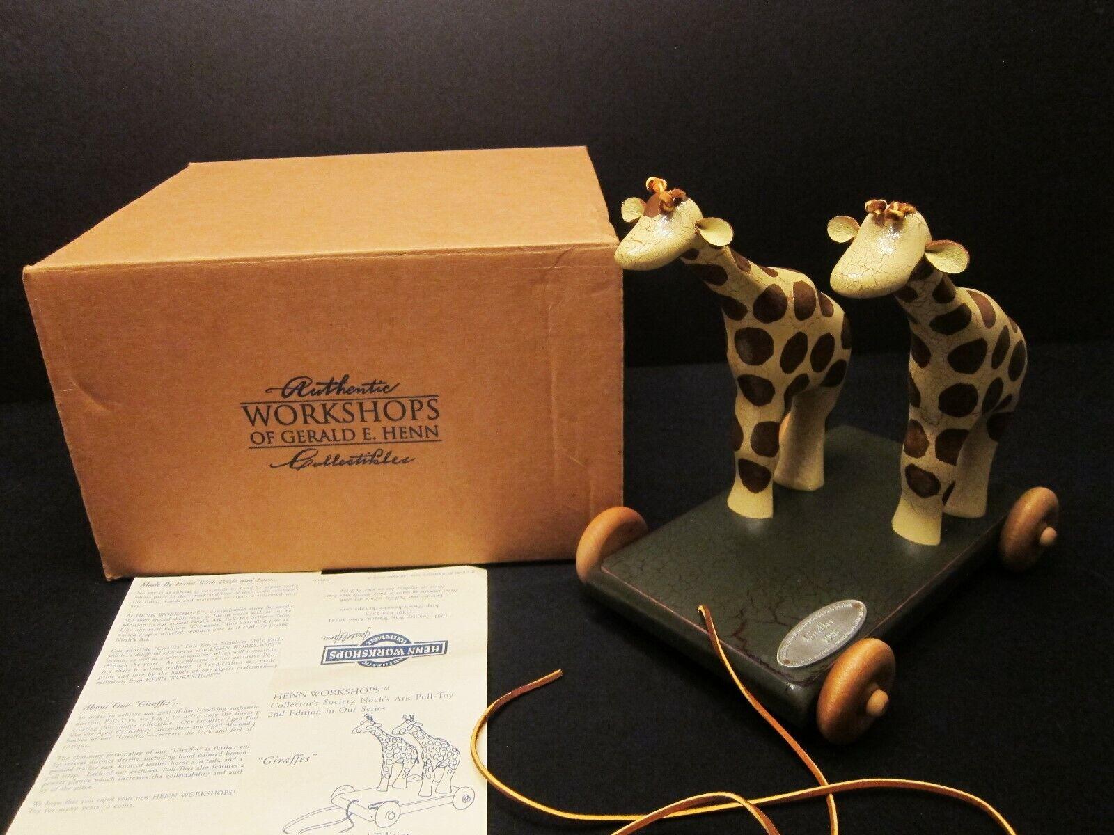 1998 Gerald E Henn Workshops Giraffes Pull Toy 2nd in Noah Ark Series with Box