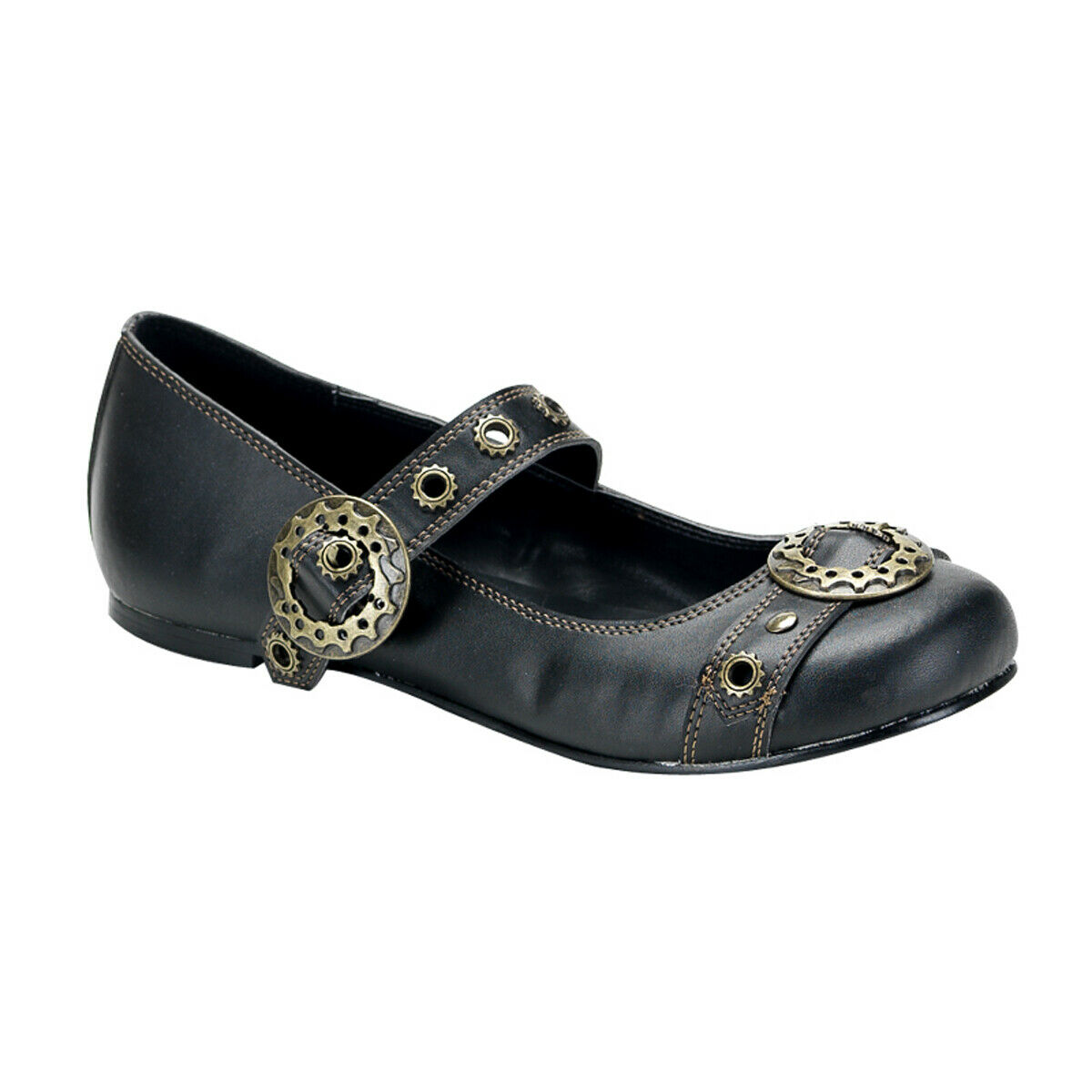 PLEASER Demonia Daisy-09 Steampunk Goth Punk Ballet Flat MJ W  Gear Buckle