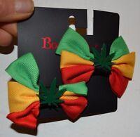 Body Rage By Spencers Rasta Pot Leaf Bow Ribbon Barrette Hair Clip