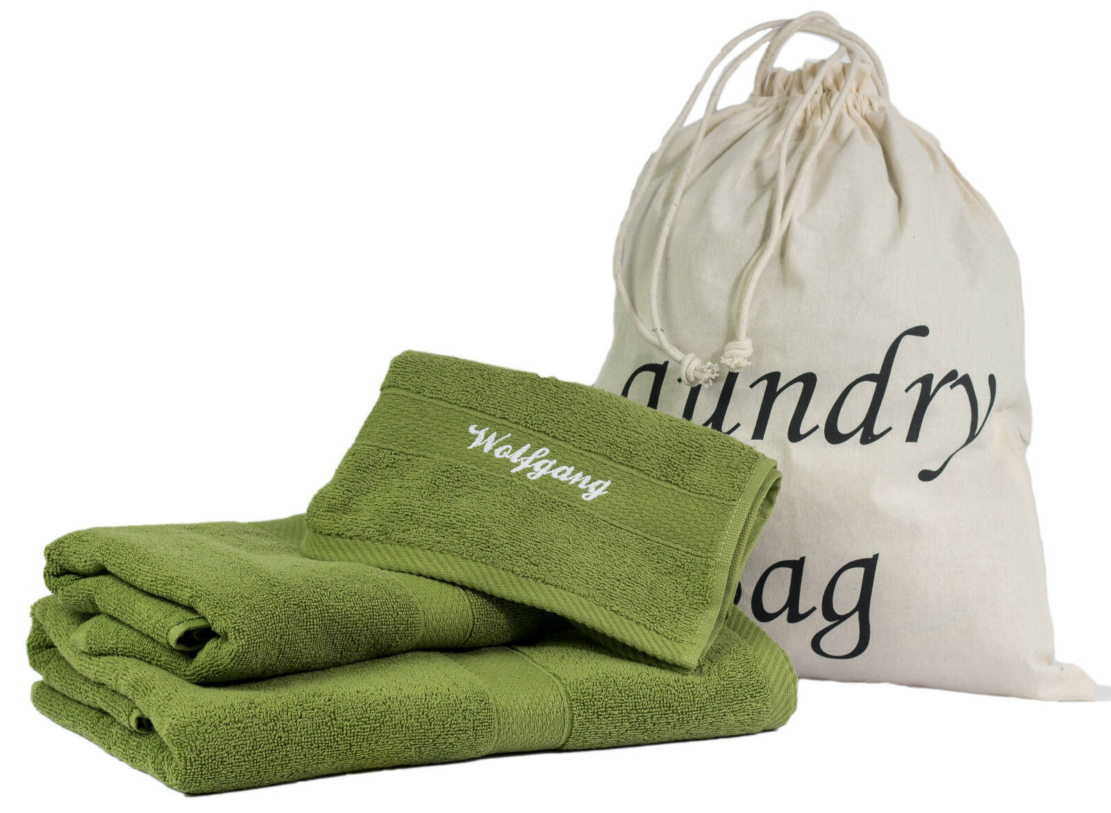 4 tlgSet Handtuch Duschtuch Gästetuch Wäsche-Bag mit Wunschnamen cypress 100% BW     | Offizielle