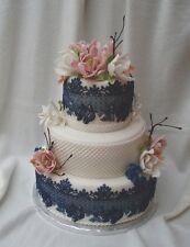 Silicone Edible Sugar Cake Lace Mold Vintage European Elegant Border Rose (A)