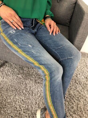 ★VIARELLA Baggy Jeans Hose Streifen STRETCH gelb blau