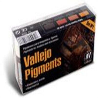 VAL73196 Vallejo Pigments - Set 1 - Rust and Oil railway & military modelling