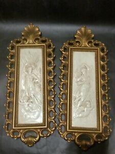 Vintage-1971-Homco-Dart-Ind-pair-Wall-Plaques-Pictures-Greek-Goddess-Cherub