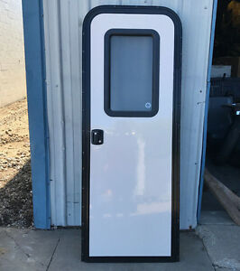 Image is loading RV-CAMPER-26-x-72-ENTRY-FRONT-ACCESS- & RV CAMPER 26 x 72 ENTRY FRONT ACCESS DOOR KEY LOCK WHITE SCREEN ...