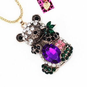 Betsey-Johnson-Crystal-Rhinestone-Cute-Panda-Pendant-Chain-Animal-Necklace-Gift