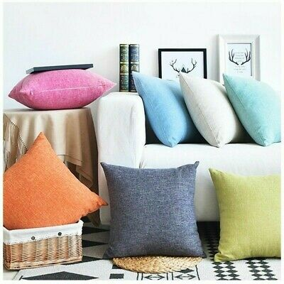 Linen Cushion Cover Flax THROW PILLOW CASE Sofa Car Home Decor Zip Up Fastening