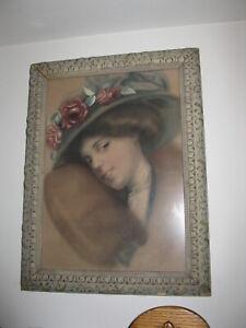 BEAUTIFUL  ANTIQUE GESSO FRAME W/ PASTEL PORTRAIT OF WOMAN - HAT W/ ROSES