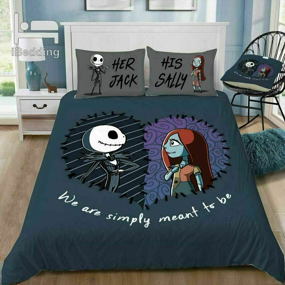 Qying Halloween Nightmare-Before-Christmas Bedding Set Duvet Cover Set 3pcs with Zipper Closure and 2 Standard Pillow Shams for Kids Teens Inch 86X70