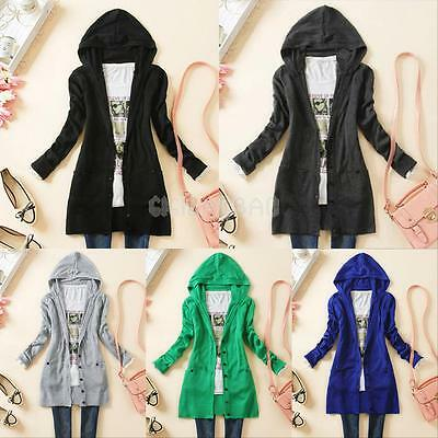 Womens Hooded Knitted Tops Cardigan Long Sleeve Sweater Jumper Coat Outwear New