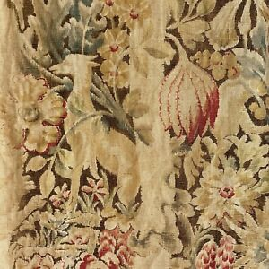 Floral-fabric-Printed-linen-vintage-Shabby-chic-RARE-dog-floral-pattern-Jacobean