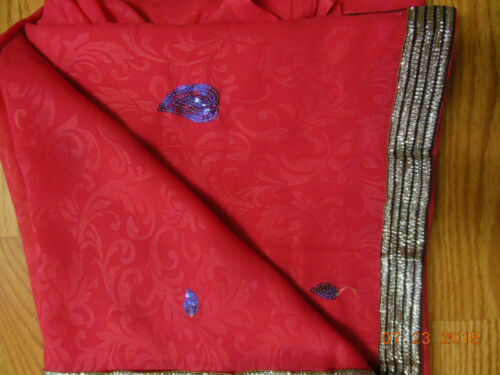 NEW INDIA SARI SAREE SILVER BORDER SEQUINS MOTIF JACQUARD RED PINK USA SELLER